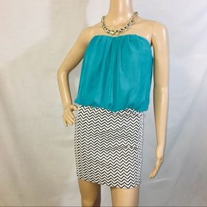Strapless Teal Top White & Dark Grey Chevron Dress